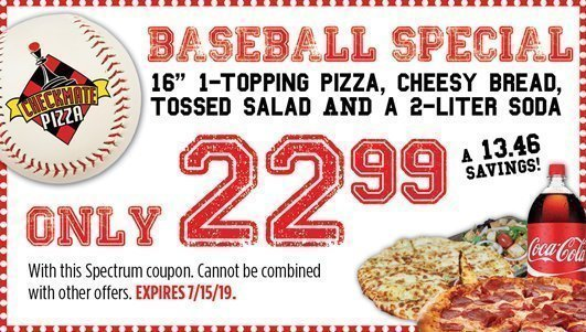 Checkmate Pizza Baseball Special 7/15/19