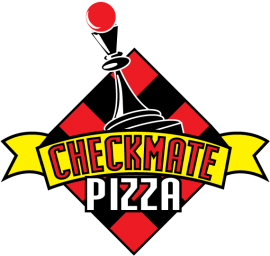 checkmate pizza delivery and takeout logo